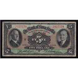 1935 Bank of Nova Scotia Five Dollars