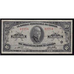 1935 La Banque Provinciale Ten Dollars