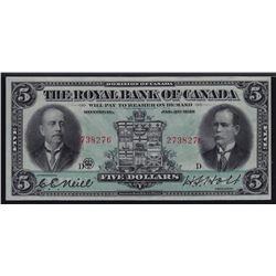 1913 Royal Bank of Canada Five Dollars