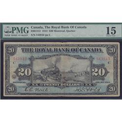 1913 Royal Bank of Canada Twenty Dollars
