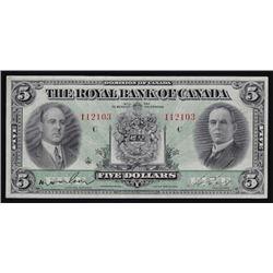 1933 Royal Bank of Canada Five Dollars