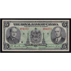 1943 Royal Bank of Canada Five Dollars