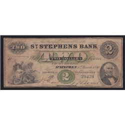 1880 St. Stephen's Bank Two Dollars
