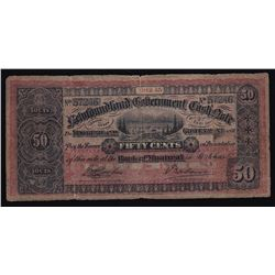 1912-13 Government of Newfoundland Fifty Cents Cash Note