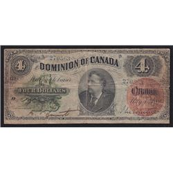 1882 Dominion of Canada Four Dollars