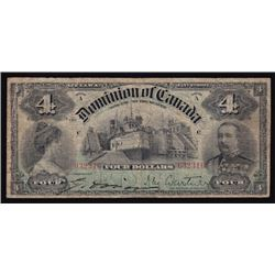 1902 Dominion of Canada Four Dollars