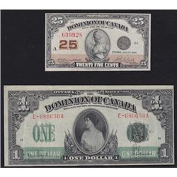 Lot of Two Dominion of Canada Notes