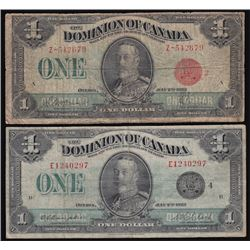 Lot of Two 1923 Dominion of Canada One Dollar Notes