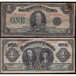 Lot of Six Dominion of Canada Bank Notes