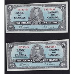 Paper Money Error - Lot of Two 1937 Bank of Canada Five Dollar Notes
