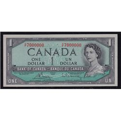 Special Serial Numbers - 1954 Bank of Canada One Dollar