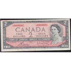 Special Serial Numbers - 1954 Bank of Canada Two Dollars