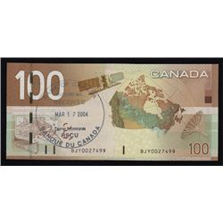 Special Serial Numbers - 2004 Bank of Canada $100 Bank of Canada Stamped