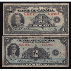 Lot of Two 1935 Bank of Canada One & Two Dollars