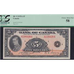 1935 Bank of Canada Five Dollars