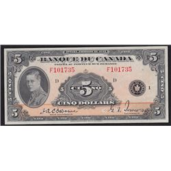 1935 Bank of Canada Five Dollars French