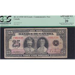 1935 Bank of Canada Twenty Five Dollars French