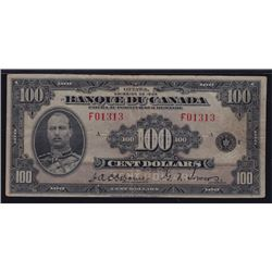 1935 Bank of Canada One Hundred Dollars French