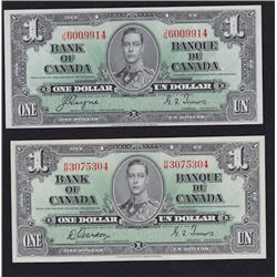 Lot of Two 1937 Bank of Canada One Dollar Notes