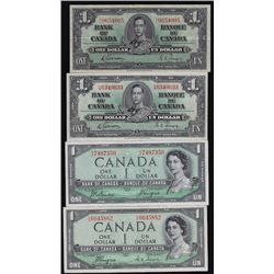 Lot of Four Bank of Canada One Dollar Bank Notes