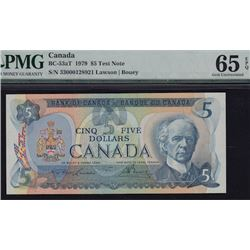 1979 Bank of Canada Five Dollars Test Note