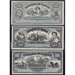 World Banknotes - Lot of Three 1895 Republic of Hawaii Specimen Silver Certificates