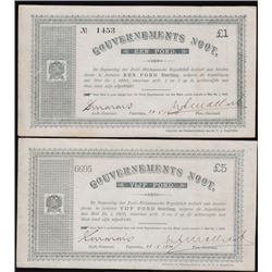 World Banknotes - Lot of Two South Africa £1& £5 Vijf Pond Banknote Anglo Boer War Notes
