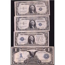 World Banknotes - Lot of Four US Silver Certificates
