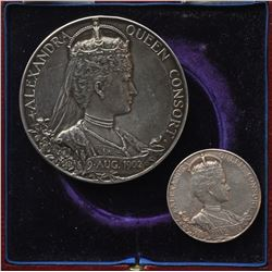 1902 Edward VII Queen Alexandra Royal Mint Small & Large Silver Coronation Medals