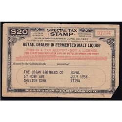 United States of America $20 Special Tax Stamp