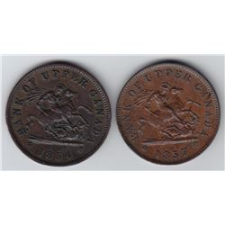 Lot of Two Pre-Conferation One Penny Tokens