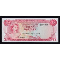 1968 BahamasThree Dollars