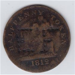 "1812 Half Penny Tiffin Countermarked ""EF"" Token"