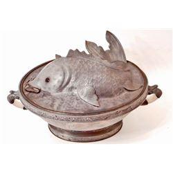 ANTIQUE CHINESE TAKWO PEWTER FISH WARMING DISH W/ JADE HANDLES
