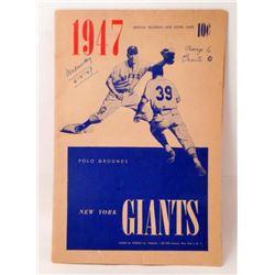 1947 NEW YORK GIANTS BASEBALL PROGRAM & SCORE CARD