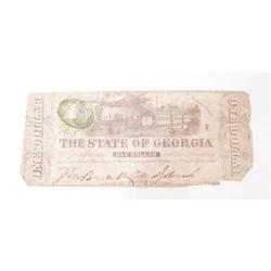 1863 CIVIL WAR ERA STATE OF GEORGIA CONFEDERATE ONE DOLLAR NOTE