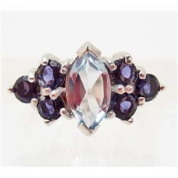 STERLING SILVER TOPAZ & IOLITE RING - SIZE 6.75