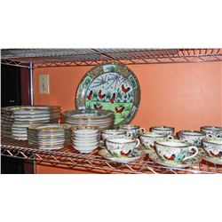 C. 1960'S CHINESE PORCELAIN ROOSTER CHINA SET - 52 PIECES