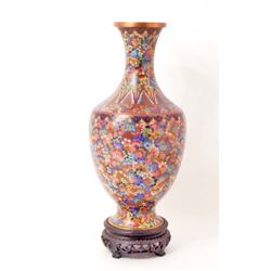 ANTIQUE CHINESE CLOISONNE VASE W/ STAND - POSS. 1796