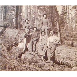 ANTIQUE MOUNTED LOGGING PHOTO OF MEN ON A HUGE TREE