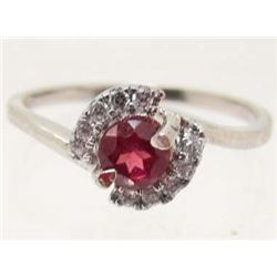 WHITE GOLD OVER STERLING SILVER GARNET RING - SIZE  6
