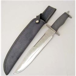 LARGE STAINLESS STEEL BOWIE KNIFE W/ SHEATH