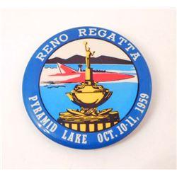 1959 RENO REGATTA PYRAMID LAKE SPEED BOAT RACING CELLULOID BADGE