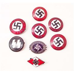 LOT OF 8 GERMAN NAZI ENAMELED PARTY BADGES