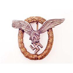 GERMAN NAZI LUFTWAFFE PILOT OBSERVER BADGE