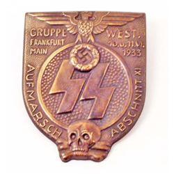 GERMAN NAZI WAFFEN SS GRUPPE FRANKFURT RALLY BADGE
