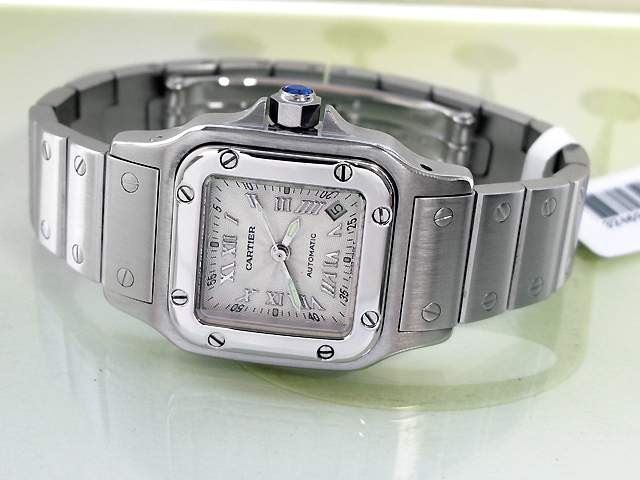 0671eaec401c ... Image 2   Lady s Cartier Stainless Steel Santos Galbee Watch. Silver Sun  Ray Roman Dial ...