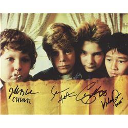 The Goonies Cast Photo Signed by Sean Astin, Corey Feldman, Jeff Cohen and Jonathan Ke Quan