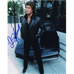David Hasselhoff Signed Photo as Michael Knight with KITT from Knight Rider