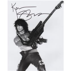 Alice Cooper Band Member Kane Roberts with Machine Gun Guitar Signed Photo